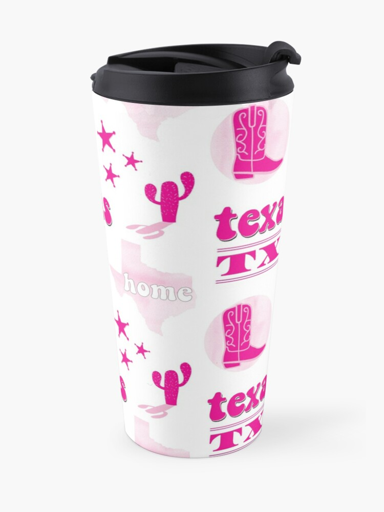 Hot Pink Watercolor Texas US State Sticker Pack | Travel Mug