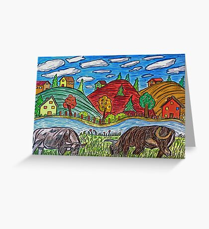 Cow Grazing Greeting Card
