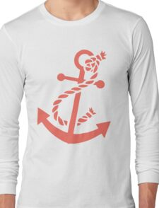 Coral Red Nautical Boat Anchor Illustration T-Shirt
