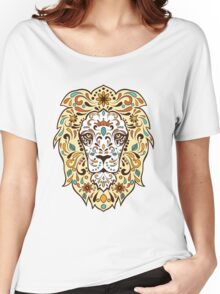 Colorful Lion Head Sugar Skull Illustration Women's Relaxed Fit T-Shirt
