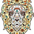 Colorful Lion Head Sugar Skull Illustration by artonwear
