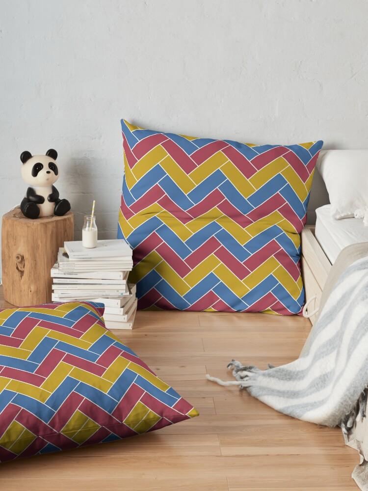 Alternate view of Geometric Pattern: Herringbone: Summer Floor Pillow