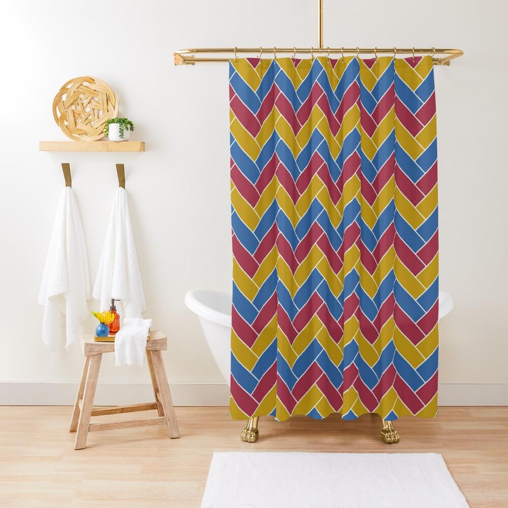 Geometric Pattern: Herringbone: Summer Shower Curtain