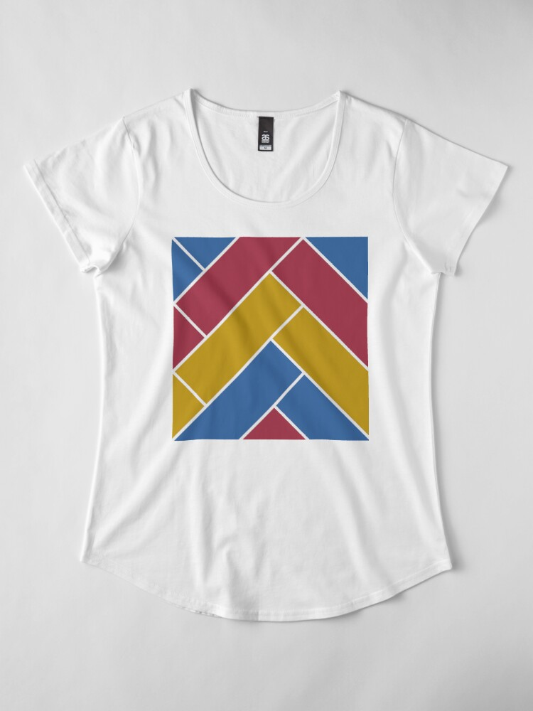 Alternate view of Geometric Pattern: Herringbone: Summer Premium Scoop T-Shirt