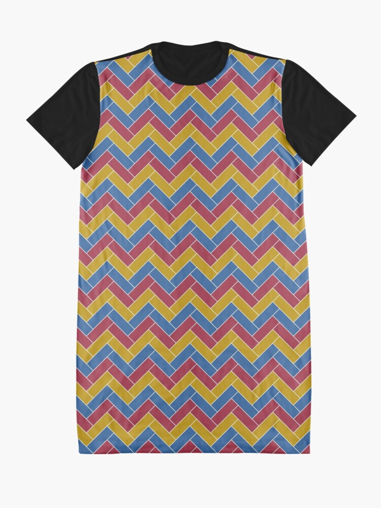 Alternate view of Geometric Pattern: Herringbone: Summer Graphic T-Shirt Dress