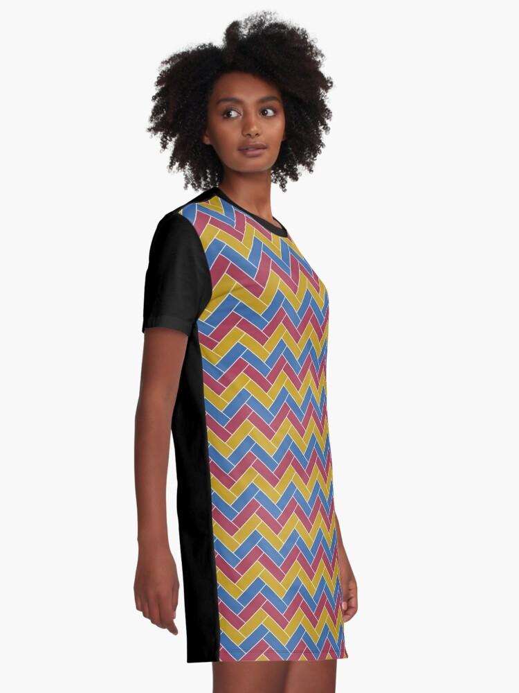 Alternate view of Geometric Pattern: Herringbone: Summer Graphic T-Shirt Dress