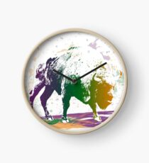 Bison in a colour storm Clock