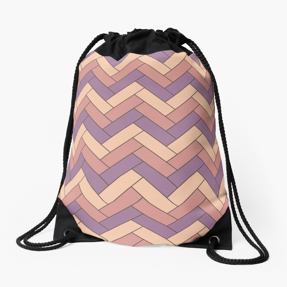 Geometric Pattern: Herringbone: Autumn Drawstring Bag