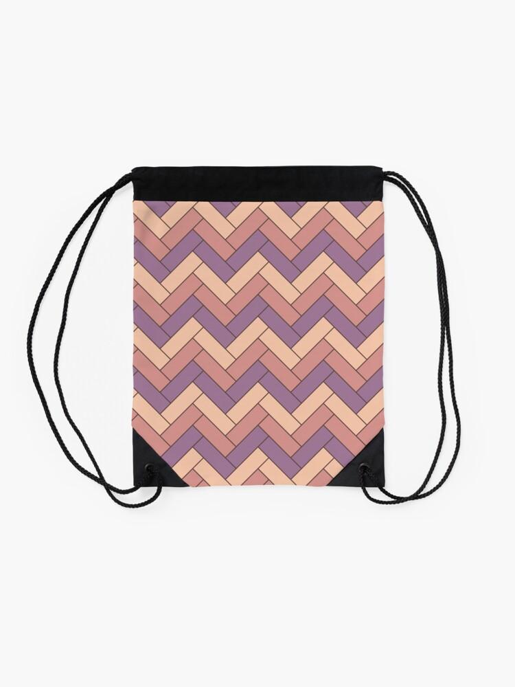 Alternate view of Geometric Pattern: Herringbone: Autumn Drawstring Bag