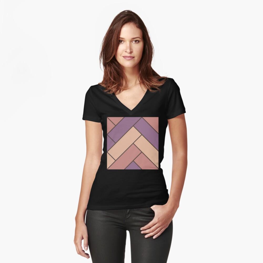 Geometric Pattern: Herringbone: Autumn Fitted V-Neck T-Shirt