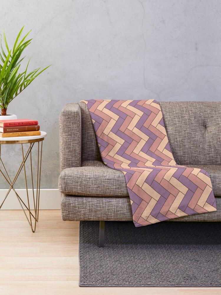 Alternate view of Geometric Pattern: Herringbone: Autumn Throw Blanket