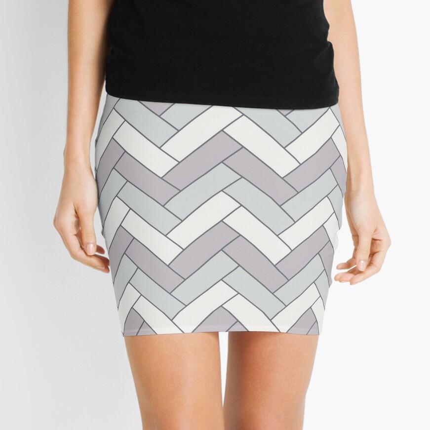 Geometric Pattern: Herringbone: Winter Mini Skirt