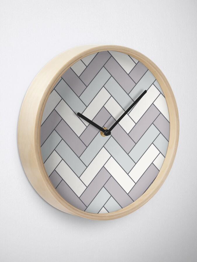 Alternate view of Geometric Pattern: Herringbone: Winter Clock
