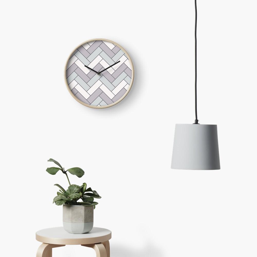 Geometric Pattern: Herringbone: Winter Clock