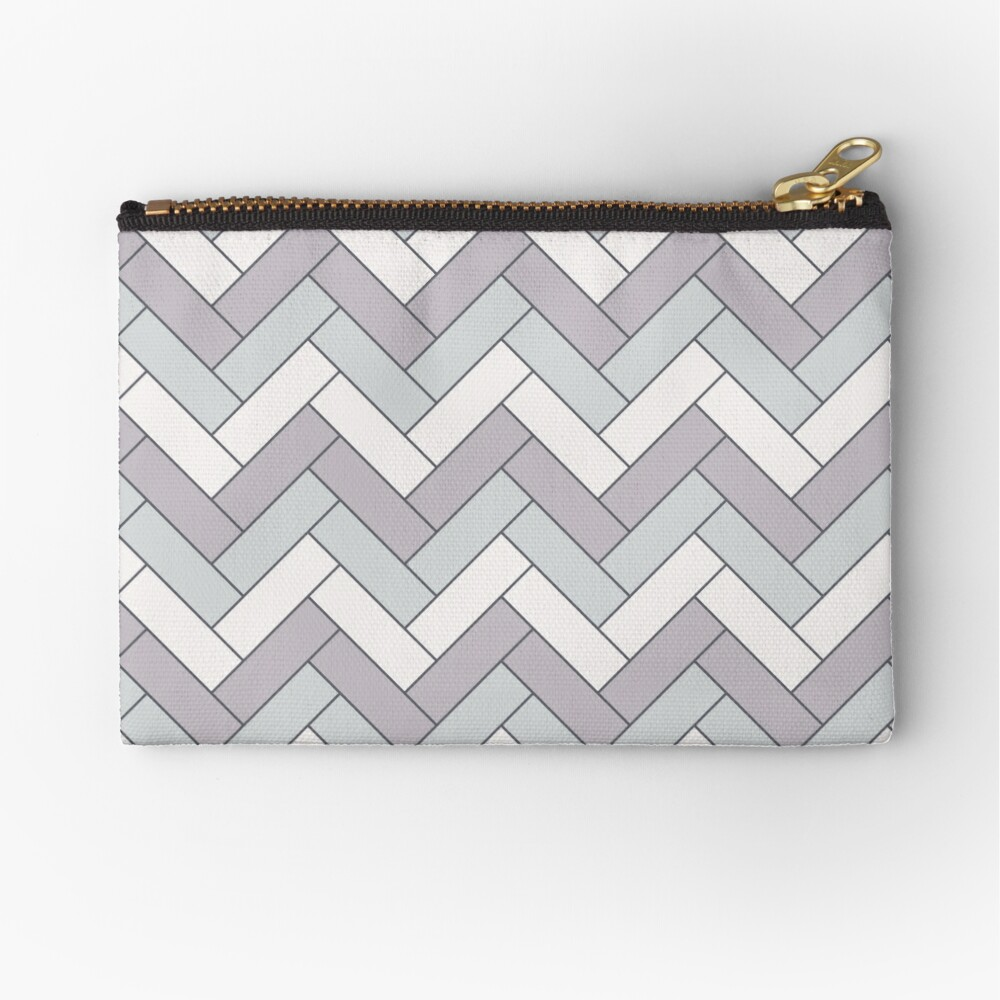 Geometric Pattern: Herringbone: Winter Zipper Pouch