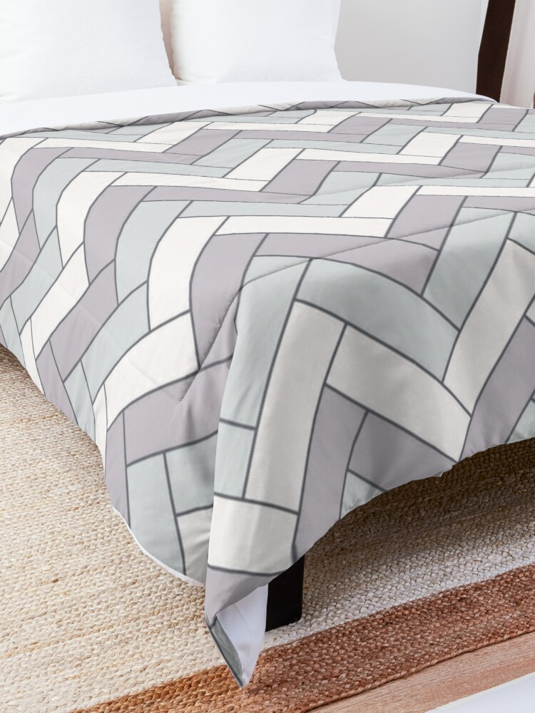 Alternate view of Geometric Pattern: Herringbone: Winter Comforter