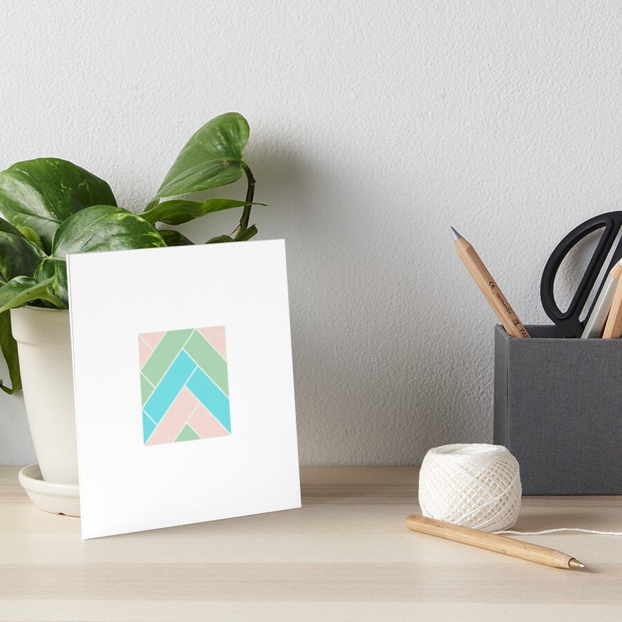 Geometric Pattern: Herringbone: Spring Art Board Print