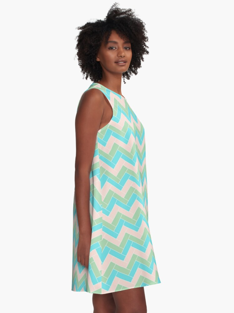 Alternate view of Geometric Pattern: Herringbone: Spring A-Line Dress