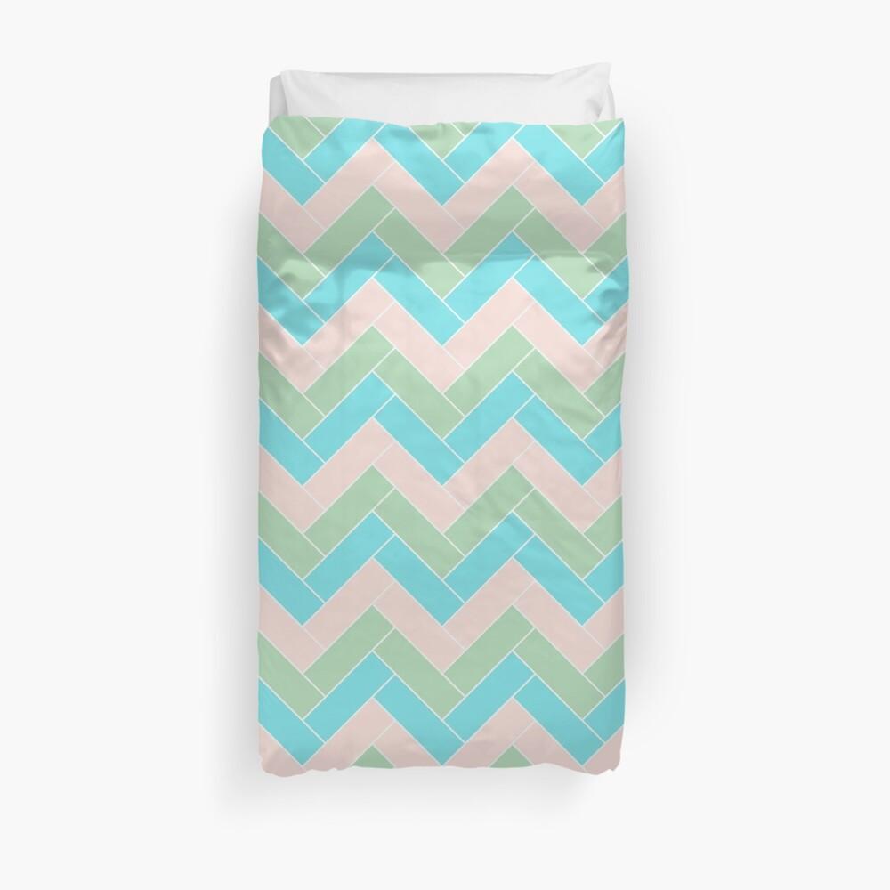 Geometric Pattern: Herringbone: Spring Duvet Cover