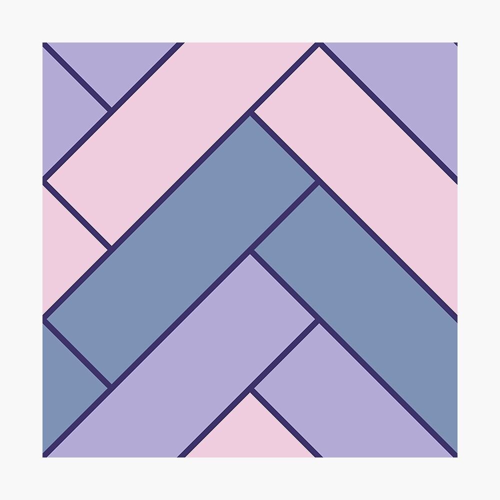 Geometric Pattern: Herringbone: Iris Photographic Print