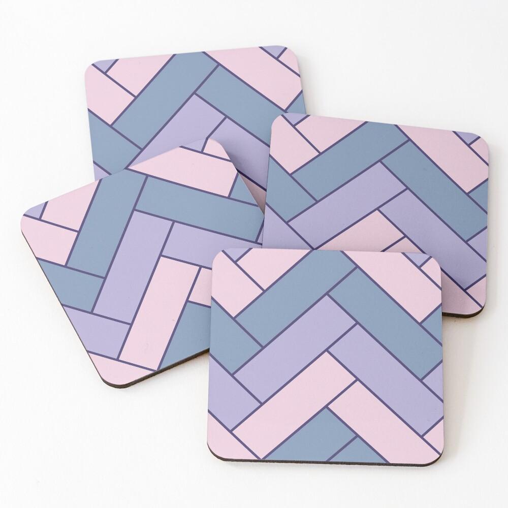 Geometric Pattern: Herringbone: Iris Coasters (Set of 4)