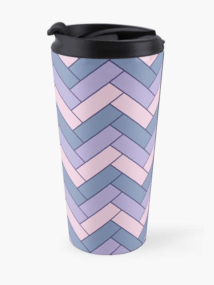 Alternate view of Geometric Pattern: Herringbone: Iris Travel Mug