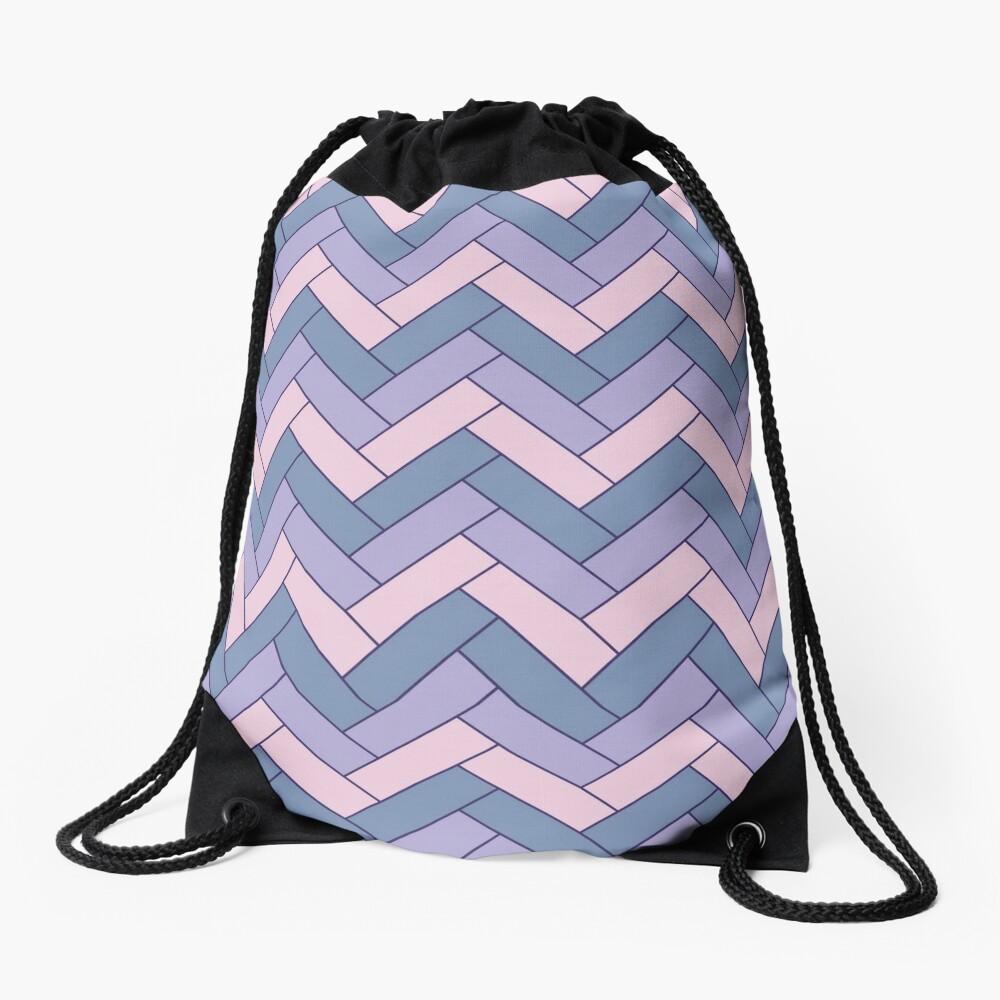 Geometric Pattern: Herringbone: Iris Drawstring Bag