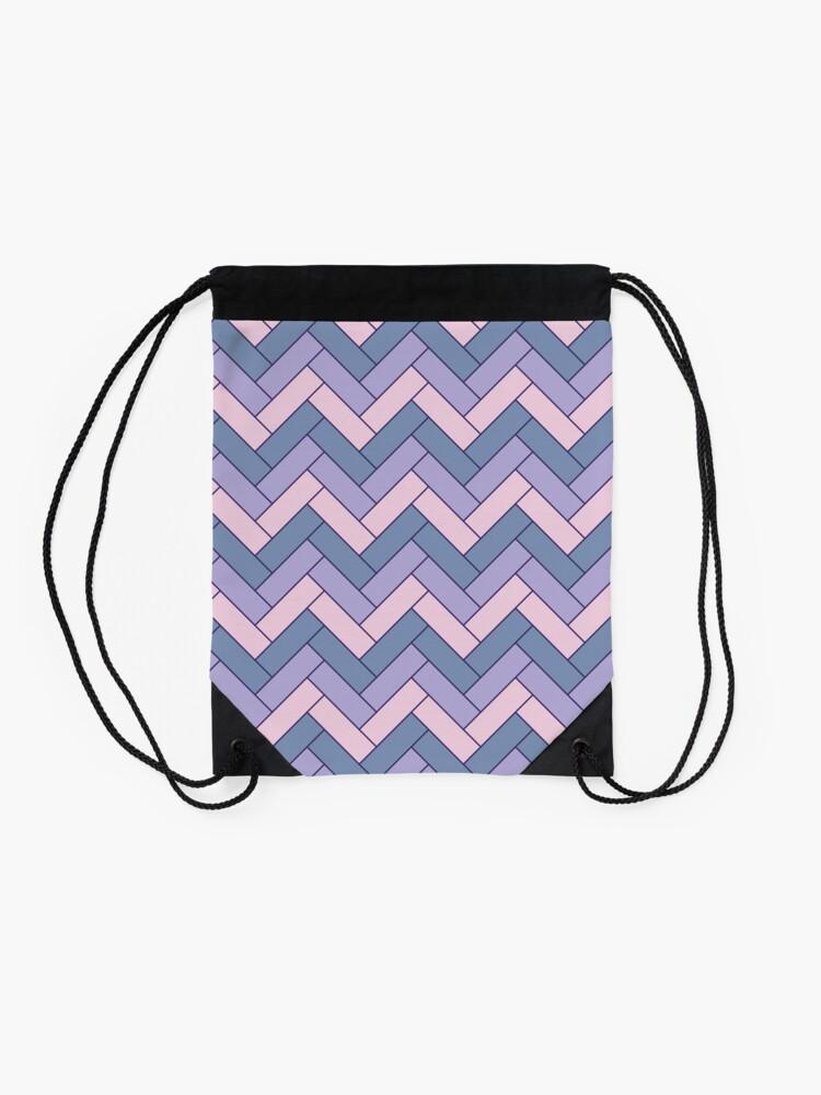 Alternate view of Geometric Pattern: Herringbone: Iris Drawstring Bag