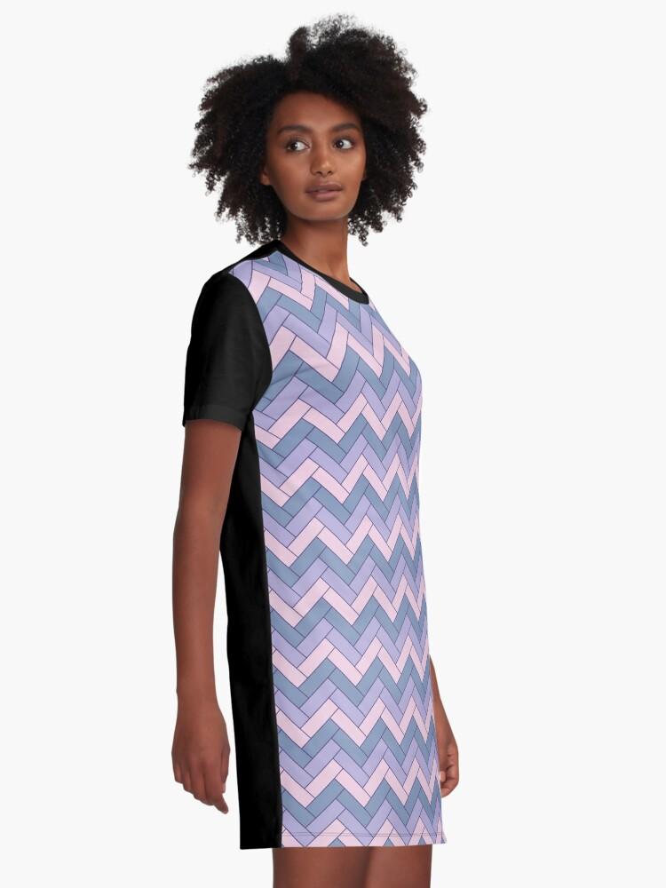Alternate view of Geometric Pattern: Herringbone: Iris Graphic T-Shirt Dress