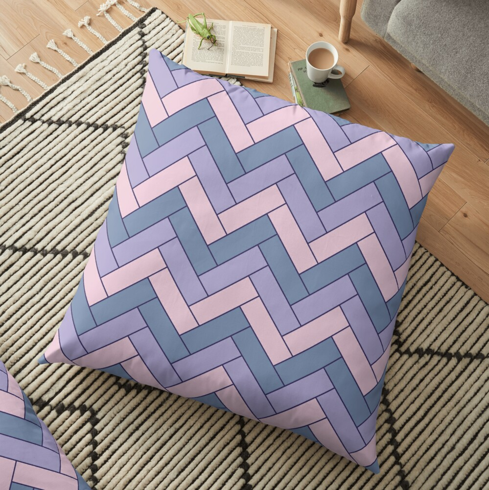 Geometric Pattern: Herringbone: Iris Floor Pillow