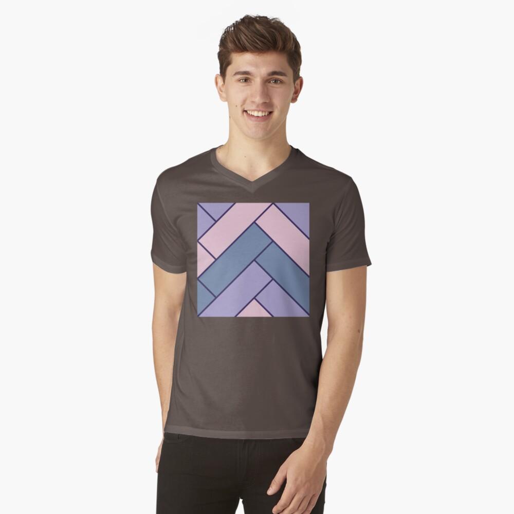 Geometric Pattern: Herringbone: Iris V-Neck T-Shirt