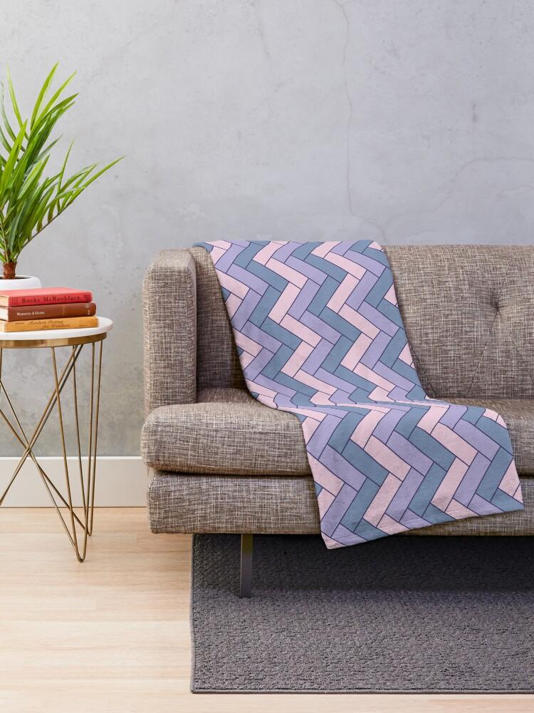 Alternate view of Geometric Pattern: Herringbone: Iris Throw Blanket