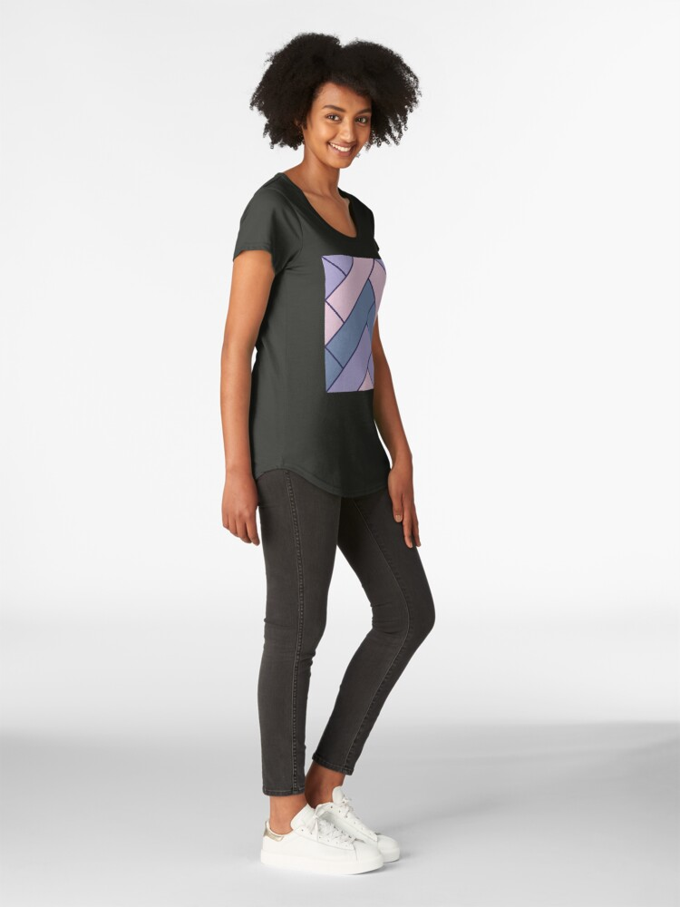 Alternate view of Geometric Pattern: Herringbone: Iris Premium Scoop T-Shirt