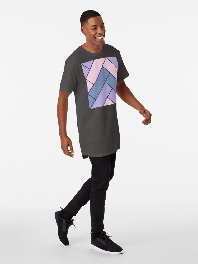 Alternate view of Geometric Pattern: Herringbone: Iris Long T-Shirt