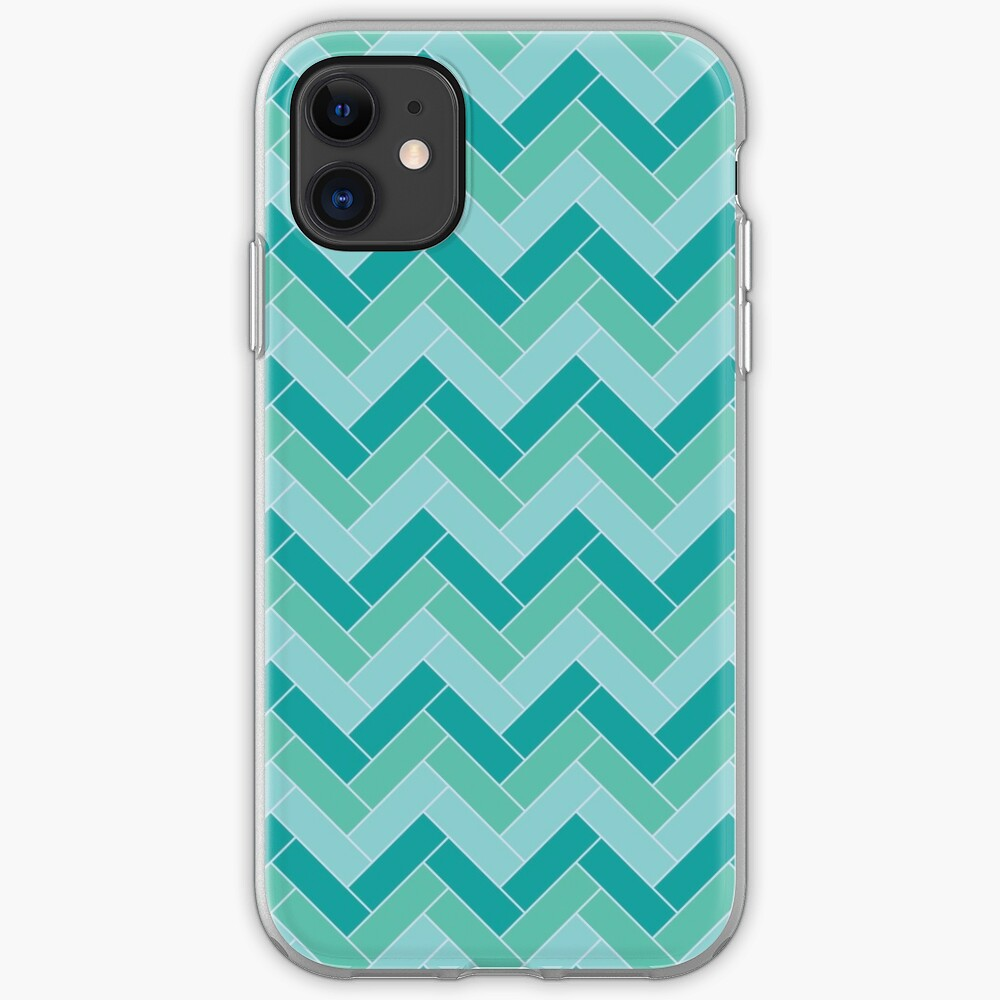 Geometric Pattern: Herringbone: Moss iPhone Case & Cover