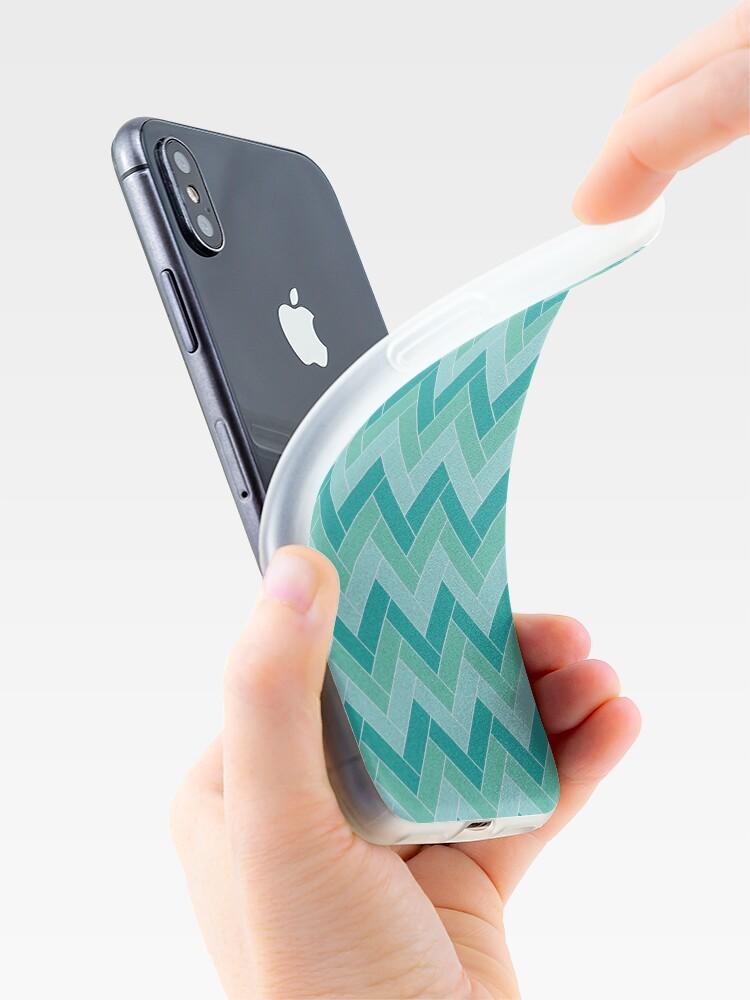 Alternate view of Geometric Pattern: Herringbone: Moss iPhone Case & Cover