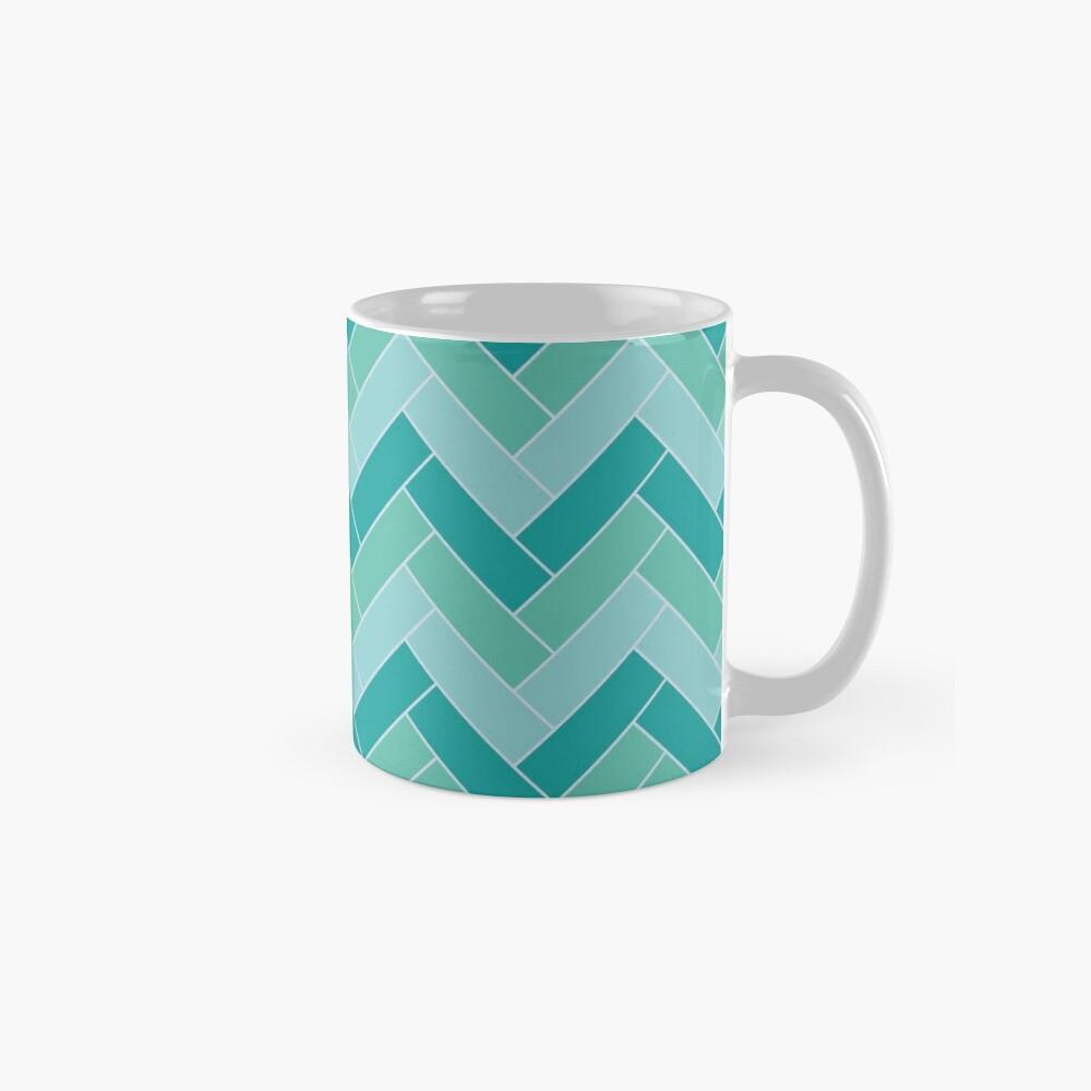 Geometric Pattern: Herringbone: Moss Mug