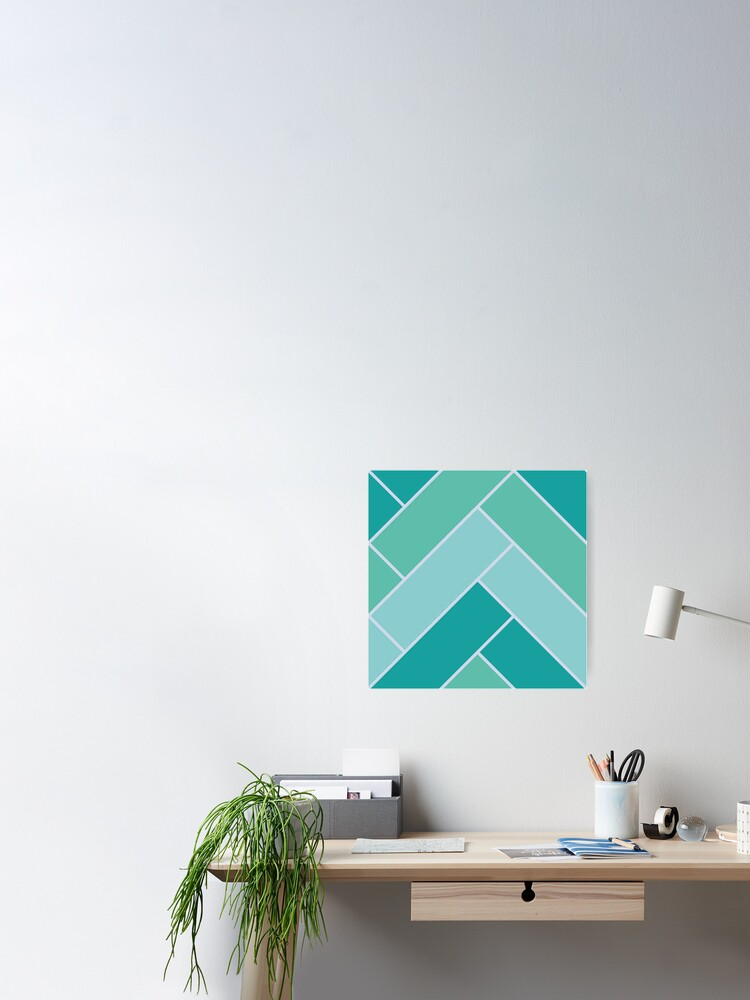 Alternate view of Geometric Pattern: Herringbone: Moss Poster