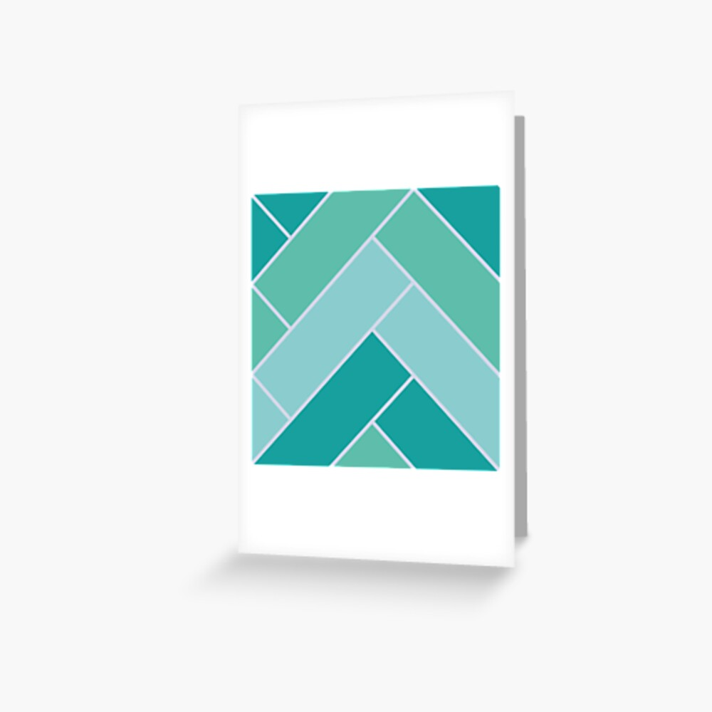 Geometric Pattern: Herringbone: Moss Greeting Card