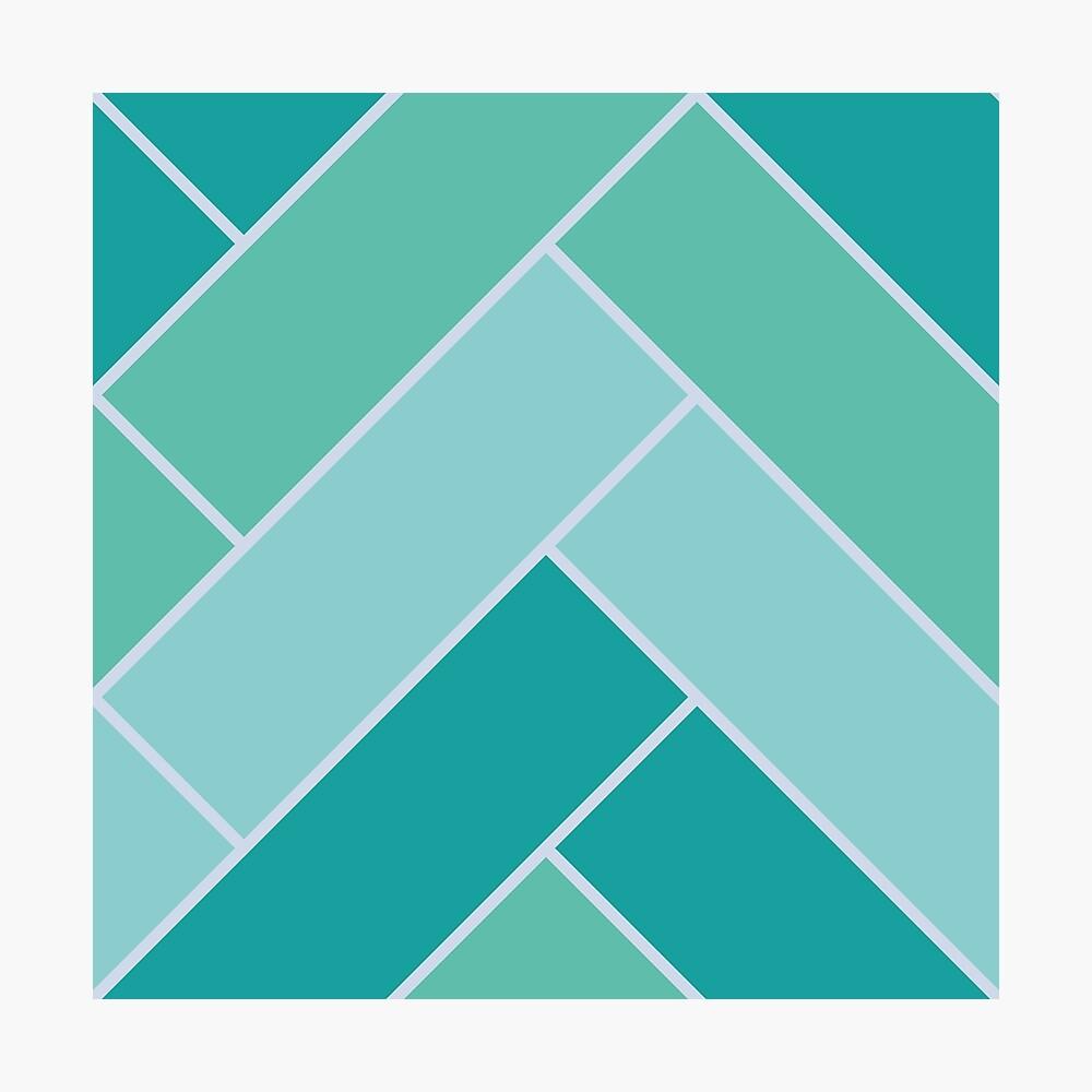 Geometric Pattern: Herringbone: Moss Photographic Print
