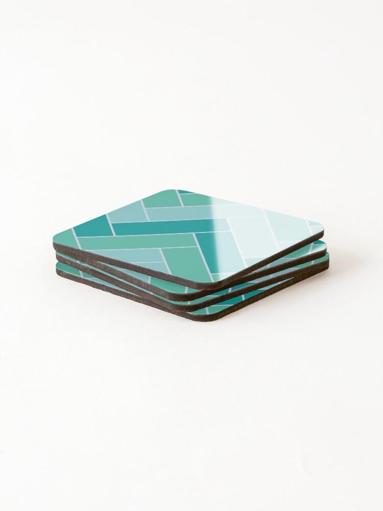 Alternate view of Geometric Pattern: Herringbone: Moss Coasters (Set of 4)