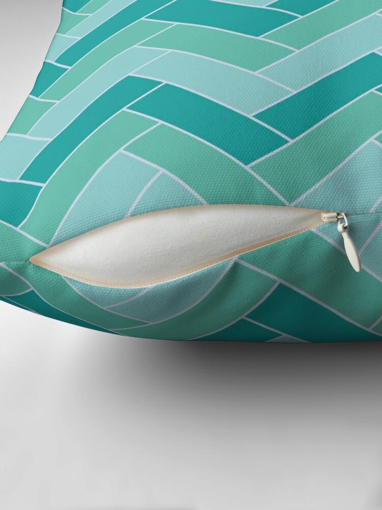 Alternate view of Geometric Pattern: Herringbone: Moss Throw Pillow