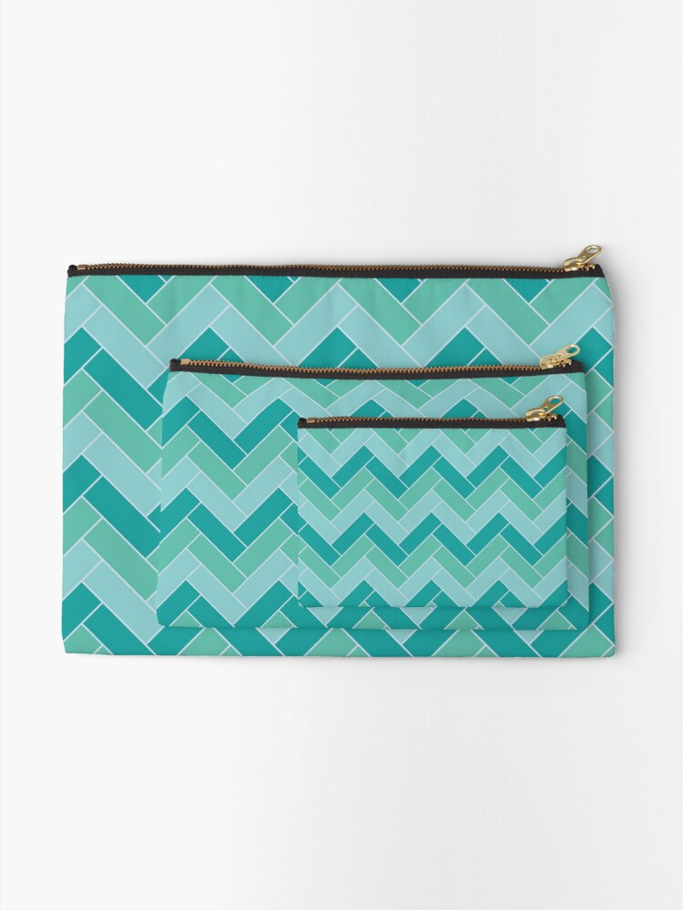 Alternate view of Geometric Pattern: Herringbone: Moss Zipper Pouch