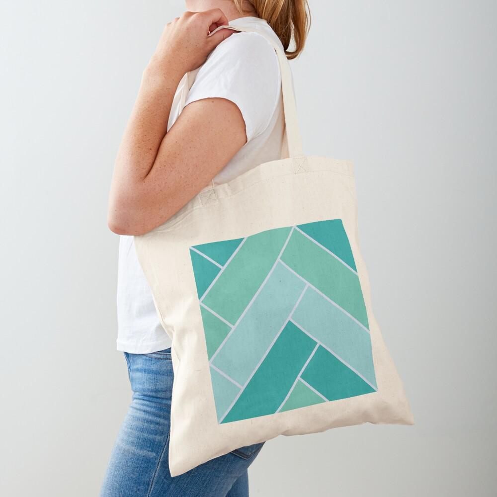 Geometric Pattern: Herringbone: Moss Tote Bag