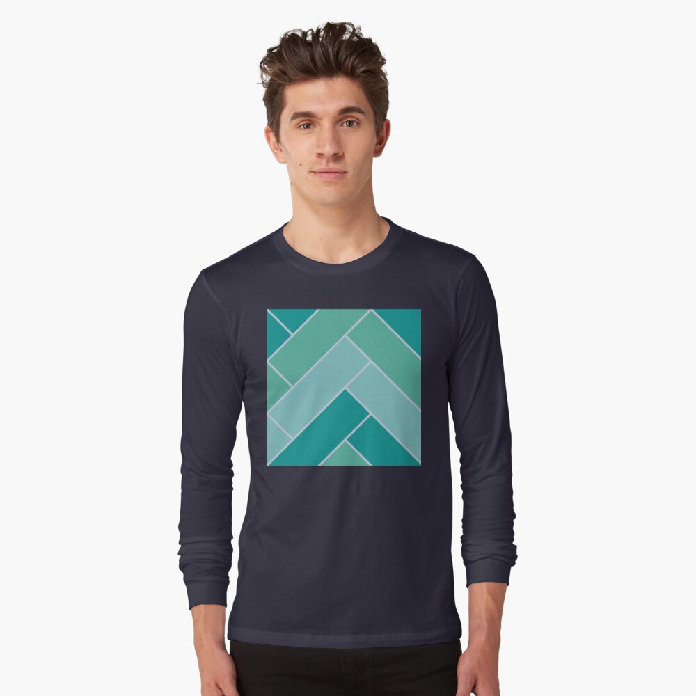 Geometric Pattern: Herringbone: Moss Long Sleeve T-Shirt