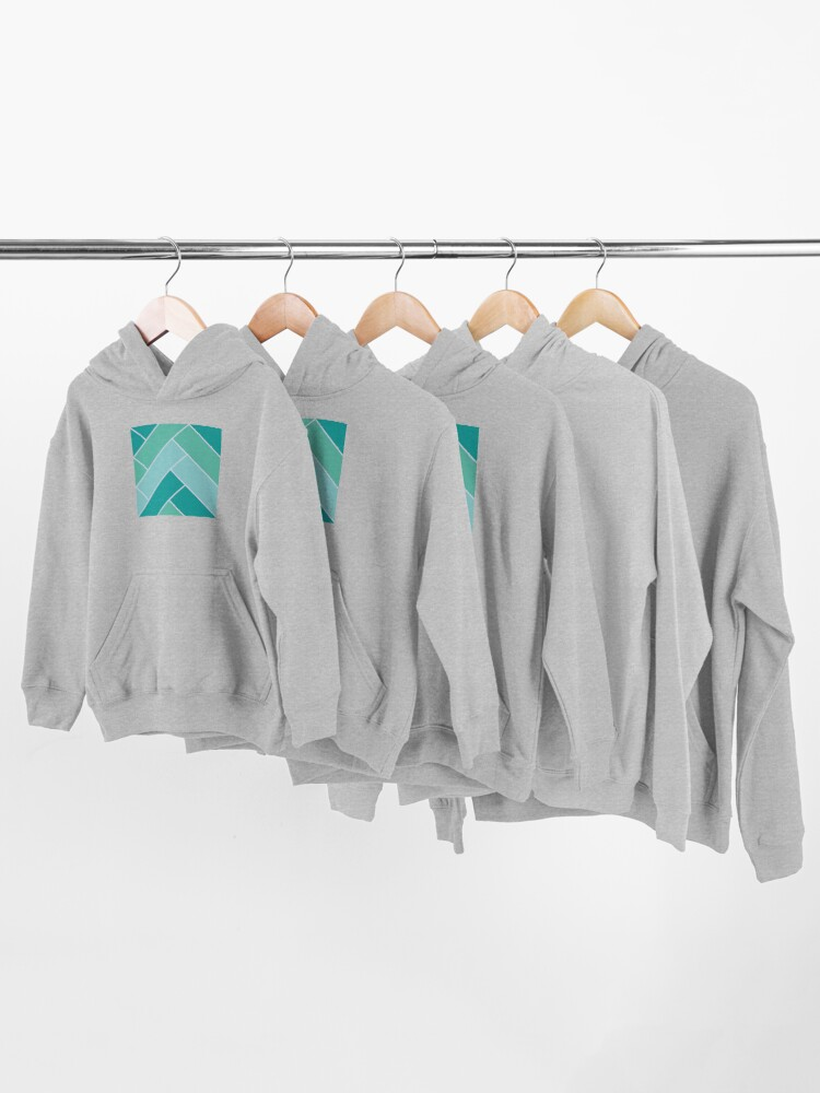 Alternate view of Geometric Pattern: Herringbone: Moss Kids Pullover Hoodie