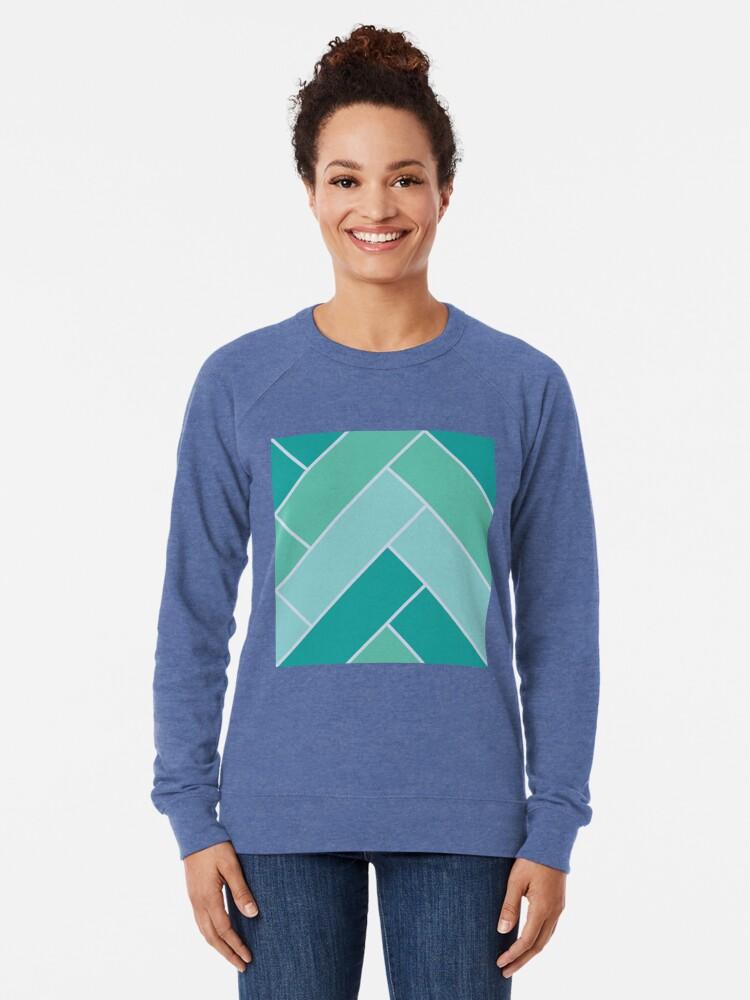 Alternate view of Geometric Pattern: Herringbone: Moss Lightweight Sweatshirt
