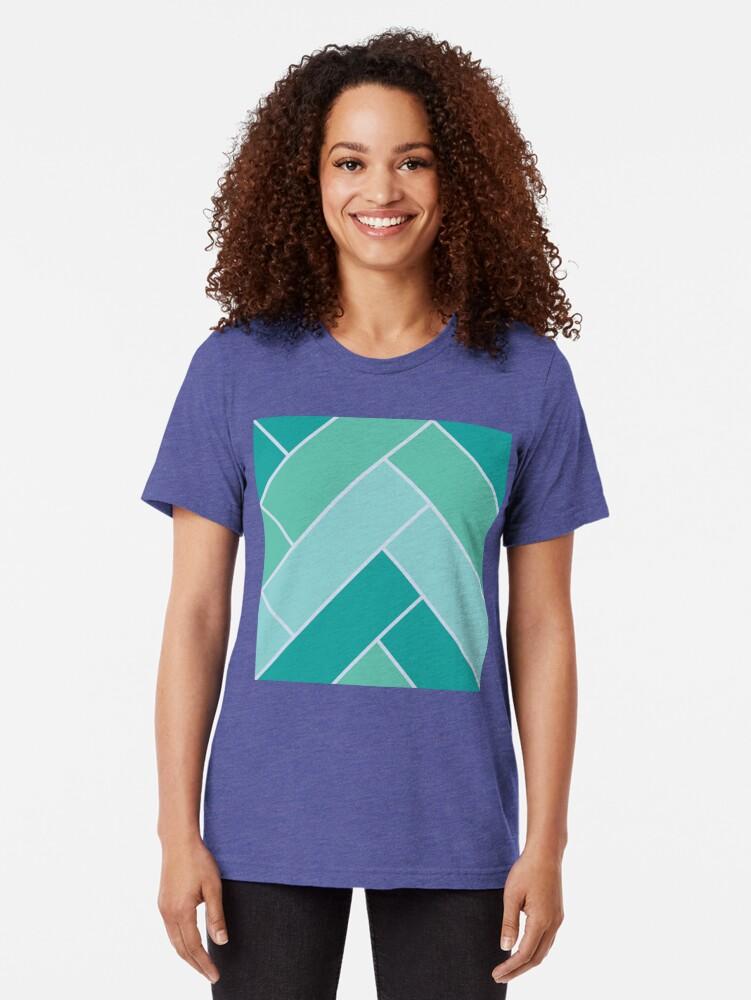 Alternate view of Geometric Pattern: Herringbone: Moss Tri-blend T-Shirt