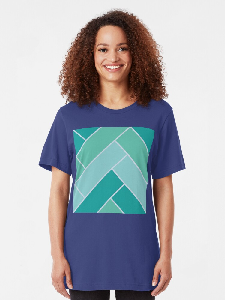 Alternate view of Geometric Pattern: Herringbone: Moss Slim Fit T-Shirt