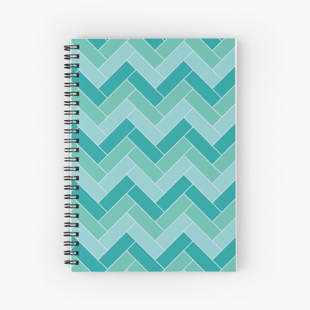 Geometric Pattern: Herringbone: Moss Spiral Notebook